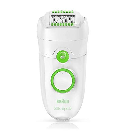 Braun Silk-Epil 5 Power 5780 Epilator, Hair Removal with 7 Extras Including Shaver Head and Trimmer Cap, White/Green