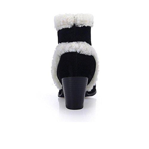 XIAOGANG H HBotas de nieve de la lucha de las mujeres del invierno (negro. Amarillo. Gris) con las botas antideslizantes del desgaste grueso y de la helada, BLACK, 39