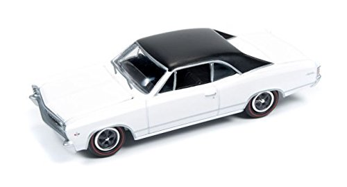 2016 Johnny Lightning Muscle Cars USA 1967 Chevy Chevelle Malibu White/Black Roof #4
