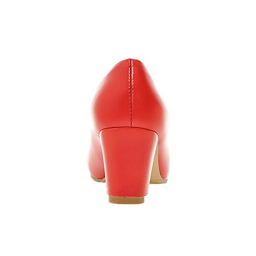 Allhqfashion Ronde-teen Pull-on Pu Voor Dames Stevige Pumps-pumps Hakken Rood