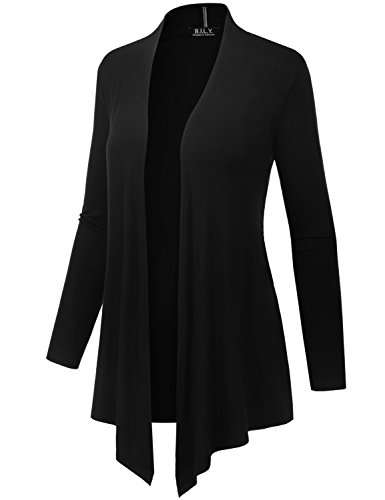 Because I Love You Women's Open Front Drape Hem Lightweight Cardigan - X-Large - Black by B.I.L.Y (Image #2)