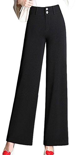 Enlishop Women Fashion Work High Waisted Black Wide Leg Palazzo Pants Slacks