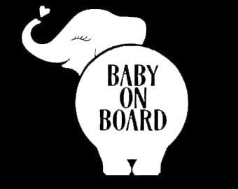 Makarios LLC Elephant Baby on Board Cars Trucks Vans Walls Laptop MKR| White |5.5 x 5.5|MKR398