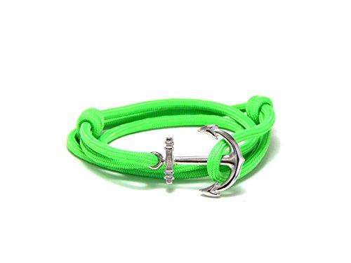 Anchor Bracelet Nautical Neon Green Paracord Silver Tone Anchor Men Women's Adjustable