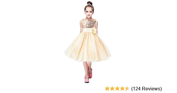 8f3239ba91 YMING Girls Flower Sequin Princess Dress Sleeveless Tutu Tulle Birthday Party  Dress