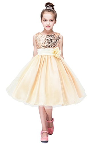 YMING Princess Flower Dress for Girl Birthday Party Sequin Dress Beige 7-8 Years -