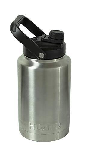 HUNTR Gallon Steel Water Bottle, Vacuum Insulated Bottle, Triple Wall Stainless Steel, in Silver - with Cleaning Brush Included