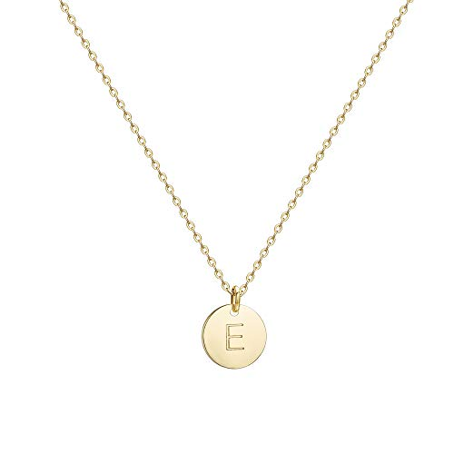 (Befettly Initial Necklace Pendant 14K Gold-Plated Round Disc Double Side Engraved Hammered Choker Necklace 16.5'' Adjustable Personalized Alphabet Letter Pendant E)