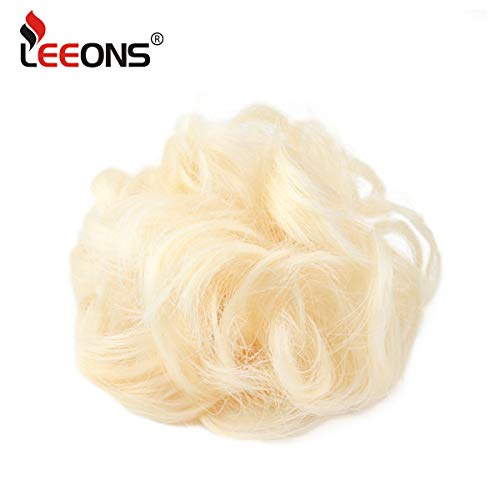 Leeons Wavy Messy Bun Extensions Curly Donut Chignons Updo Wig Scrunchy Scrunchie synthetic hair pieces with elastic hair tie (#613) by Leeons