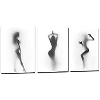 Sexy Nude Women Wall Art Picture 3 Pieces Black White Naked Girl in the Shower Canvas Painting Print Artwork Home Decor for Living Room Bathroom Bedroom Framed Stretched Ready to Hang(36''Wx16''H)