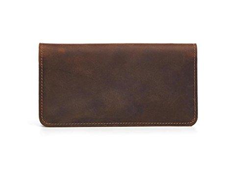 Herrenbrieftasche Vintage Leder Lange Brieftasche Clutch Bag Europa & American Fashion Taschen Große Kapazität Casual Fashion Clutch Brown1