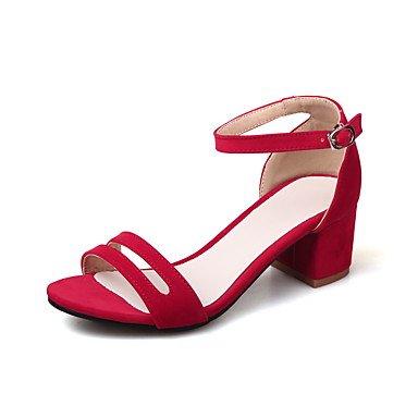 Verano Guantes–Sandalias para mujer vestido LÄSSIG de piel sintética bloque de tacón de comodidad de Negro Beige Rojo rojo