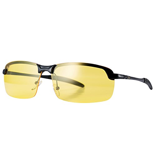 Pro Acme Rimless Polarized Night Vision Driving Glasses Goggles with Yellow Lens (Black)