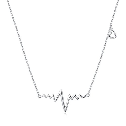 Fine Necklace Womens (LINLIN FINE JEWELRY Heartbeat Necklace 925 Sterling Silver Cute Cardiogram Life Line EKG Heartbeat Necklace Birthday Gift for Women Girls,18