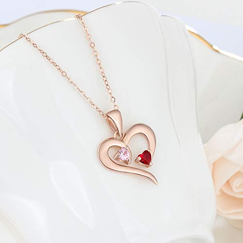 Personalized 2 Names Simulated Birthstones Necklaces 2 Couple Hearts Name Engraved Pendants for Women £¨Rose Gold by Love Jewelry (Image #3)