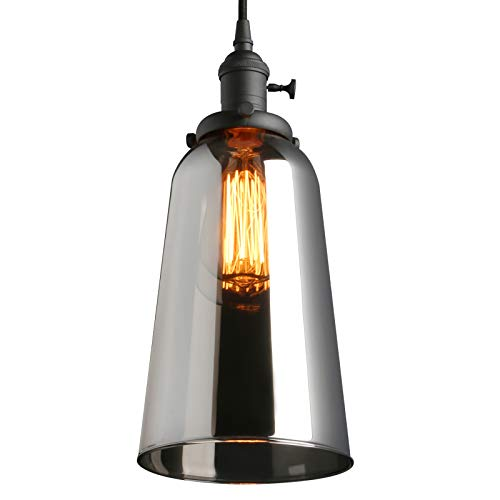 2 Fluorescent Holder Base Compact (Phansthy Vintage Industrial Ceiling Light Glass Edison Pendant Light with Long Bell Shade)