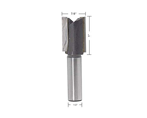 JESTUOUS Straight Router Bit 1/2 Inch Shank Diameter 7/8 Cutting Diameter Double Flute Carbide Tipped Cutter Plunge Router Bits,1pcs ()