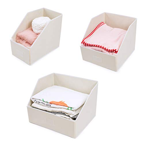 Organizing Linen Closet - Woffit Linen Closet Storage Organizers – Set of 3 Foldable Baskets to Organize Your Sheets, Towels, Washclothes, Blankets, Clothing, Sweaters, Etc – 100% Organic Fabric Bins