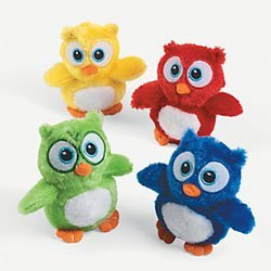 Cute Stuffed Owl Toys - Pack of 12 Plush Owl Stuffed Animals in Assorted Colors by Fun Express
