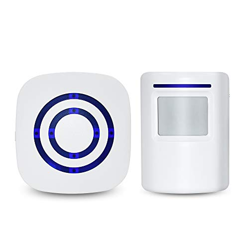 Home Security Driveway Alarm,Door Bell Chime with 1 Plug-in Receiver and 1 PIR Motion Sensor Detector Alert System, 38 Chime Tunes - LED Indicators by Jiexinsheng