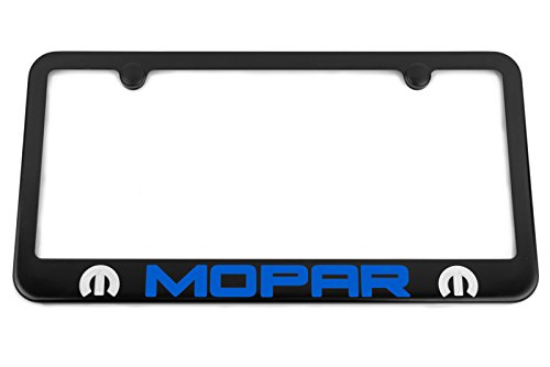 High-End Motorsports Mopar Satin Black License Plate Frame - Engraved Blue Logo