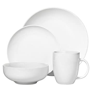 Threshold 16 Piece White Round Coupe Dinnerware Set - White  sc 1 st  Amazon.com : threshold square dinnerware - pezcame.com