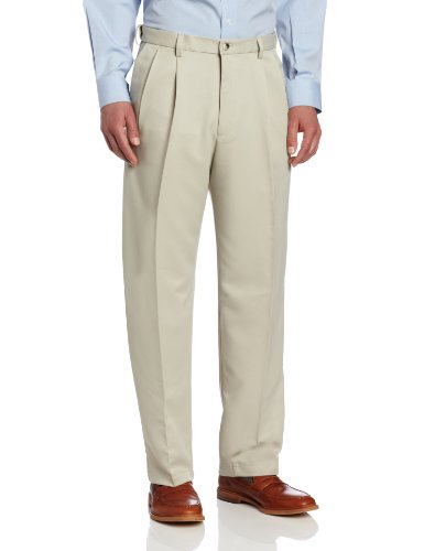 Solid Gabardine - Haggar Men's Big-Tall Cool 18 Gabardine Hidden Expandable Waist Pleat Front Pant, String (Beige), 52x30