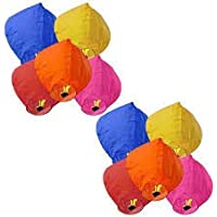 PowerCube Hot air Balloon Multicolor Paper Sky Lantern (81 cm X 30 cm, Pack of 10)