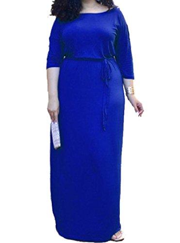 Pieno Violaceo Vestito Solido Girocollo Lunga Manica 1 2 donne Strappy Blu Coolred Lunghezza qxnTwzp4OF