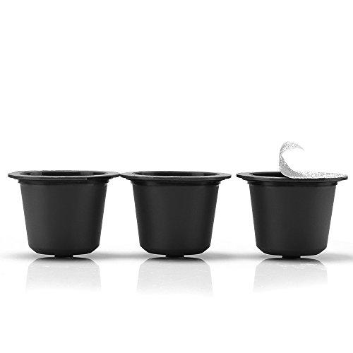 Essenza Single (i Cafilas 3pcs Refillable Coffee Capsules Reusable Filters Coffee Pods Compatible for Nespresso Machines, 60pcs Aluminum Espresso Foil Lids)