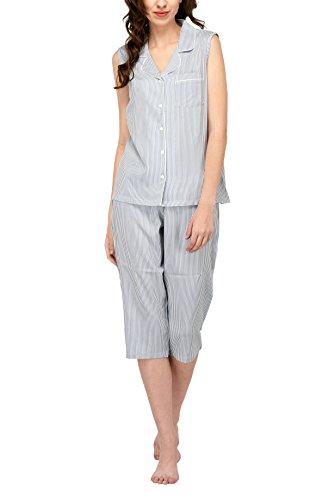 (Women's Sleepwear 2 Pc Sleeveless Pajama Notch Collar Button Down Top & Capri Set/Pajama Pant Set (Blue Vertical Stripe, S))