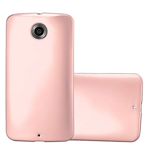 Cadorabo Case Works with Motorola Nexus 6 in Metallic ROSÉ Gold - Shockproof and Scratch Resistant TPU Silicone Cover - Ultra Slim Protective Gel Shell Bumper Back Skin