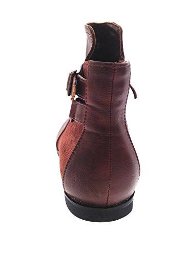 Size Ladies Leather Faux Zip Boots Pixie Ankle 8 Womens 3 Season Buckle Suede Up Mid brown Shoes pu UK Low A6qCWnw7x