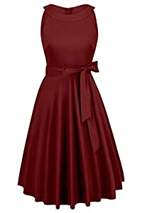 Vintage 1950s Solid Color Prom Sleeveless Retro Audery Swing Dress for Women with Belt 8224