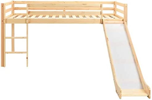 vidaXL Cama Alta para Ni/ños Tobog/án y Escalera Madera Pino 97x208 cm Somier Mueble Mobiliario Dormitorio Habitaci/ón Infantil Hogar