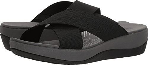 Clarks Womens Arla Elin Sandal  Black Solid Textile  9 Medium Us