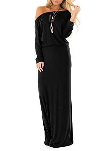 Adreamly Womens Off The Shoulder Party Dress Long Sleeve Casual Maxi Dresses