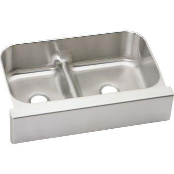 Satin Stainless Steel Kitchen Sink - Elkay EAQDUHF3523L Gourmet Stainless Steel Kitchen Sink Bright Satin Double Basins