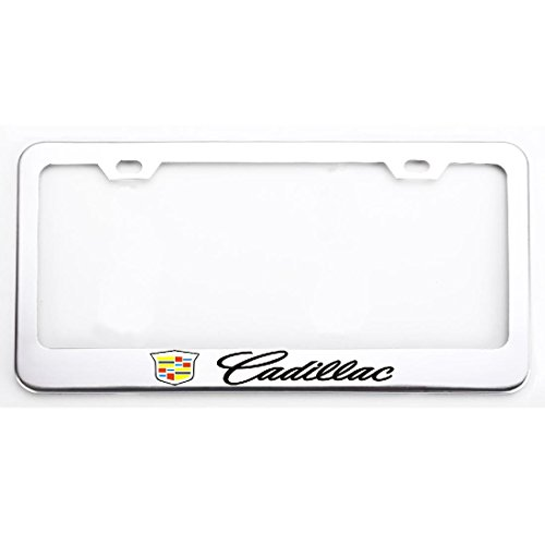 (Deselen - EBS-BT12 - Stainless Steel Cadillac License Plate Frame with Screw Caps Cover Set, Silvery White/Chrome (2 Pieces))