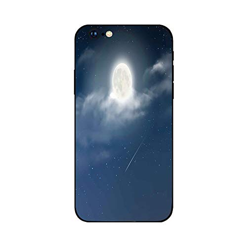 Phone Case Compatible with iphone6 Plus iphone6s Plus mobilephoneprotectingshell Brandnew Tempered Glass Backplane,Moon,Cloudy Night Sky with Milky Way Inspired Constellation Romantic Universe Infi