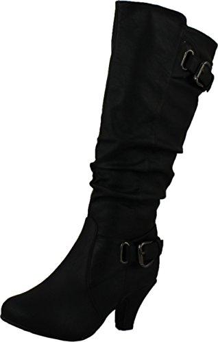 TOP Moda Womens Bag-55 Knee High Buckle Slouched Kitten Heel Boots Black