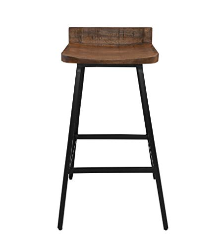 (Kosas Home Pennie Mango Wood & Iron Barstool, Hand Finished in Brown/Black Iron Finish)