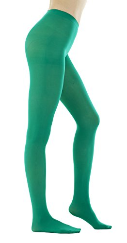 - STYLEGAGA Women's 80 Denier Semi Opaque Solid Color Footed Pantyhose Tights 2Pair (S/M, Green)
