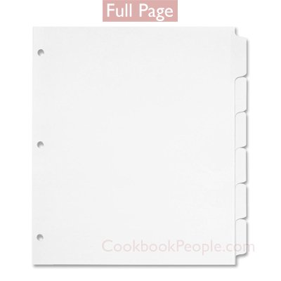 8.5 Dividers White (Six Full Page Tab Dividers - Plain White 8.5x11 - Made in USA)