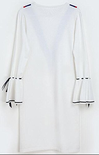 Crewneck Midi Women's Dress Cruiize Contrast Flare Sleeve White Elegant Knit 0xUqdwY