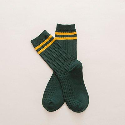 Maivasyy 3 paires de chaussettes Femmes de coton au printemps et l'automne de la section fine rayures deux piles de Dame longue de sport Chaussettes Chaussettes, vert