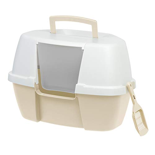 IRIS Large Hooded Corner Litter Box with Scoop, Almond
