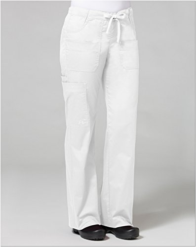 Maven Womens Blossom Multi Pocket Utility Cargo Pant  White  Medium