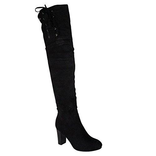 Damen Overknee Stiefel Boots Stiefeletten High Heels ST27 Schwarz