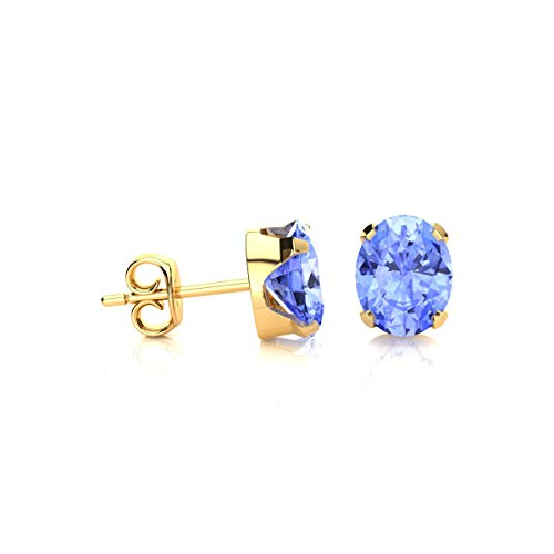 1 1/2 Carat Oval Shape Tanzanite Stud Earrings In Yellow Gold Over Sterling Silver